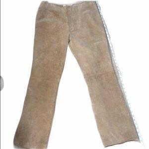 A.M.I. Paris 100% Tan Suede Leather Pants Size 10